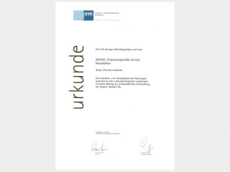 Urkunde der IHK zum 25-jährigen Betriebsjubiläum